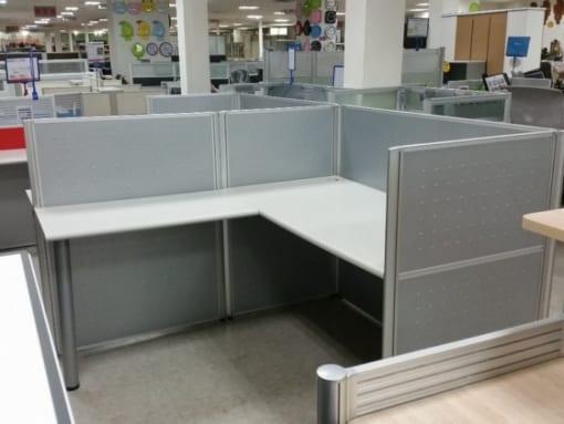 Vách ngăn văn phòng nhôm - vải - kính